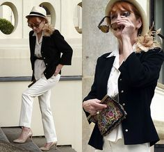 Get this look: http://lb.nu/look/8722993  More looks by Baba Slovakova: http://lb.nu/user/6155919-Baba-S  Items in this look:  H&M Hat, Betty Barclay Jacket, Body Flirt Trousers, Rockport Pumps, Vintage Bag, Vintage Blouse   #elegant #formal #vintage #panamahat