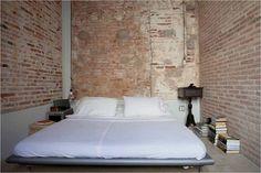 Exposed Brick Wall Bedroom