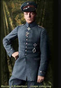 "WWI ""Ace Pilot"" Oswald Boelke. Colored photo."