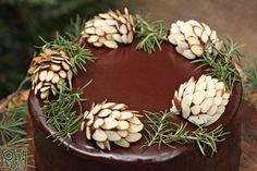 How to Make Chocolate Pine Cones ~ The stars of the cake are these Chocolate Pine Cones, made with an easy almond-chocolate fudge and lots of sliced almonds