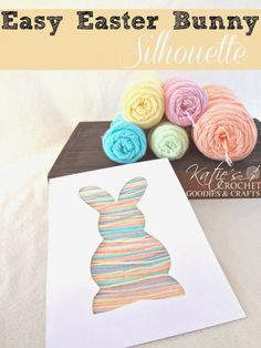 #craft, children, elementary school, yarn silhoutte, free tutorial + template, Easter, bunny, #knutselen, kinderen, basisschool, silhouette opvullen met draadjes, Pasen, gratis tutorial + template
