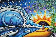 illustration of Drew Brophy's surf art