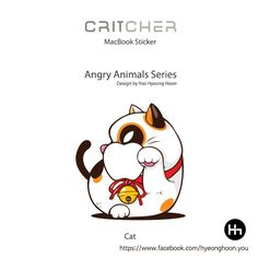 macbook sticker Cat angry animals