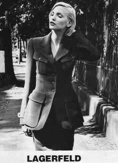 ☆ Nadja Auermann   Photography by Karl Lagerfeld   For Karl Lagerfeld Campaign   Fall 1995 ☆ #Nadja_Auermann #Karl_Lagerfeld #1995