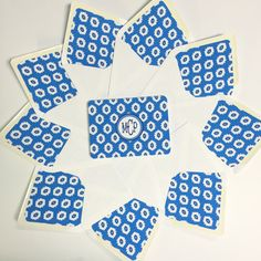 Blue and White Ikat Note Cards and White by SoHospitalityCo