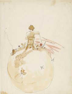 Author Antoine Saint-Exupery was French, but his beloved book, The Little Prince, wasn't written in Paris. Saint-Exupery wrote it in New York, and even included references to the island in his original manuscript. Book Illustration, Watercolor Illustration, St Exupery, Beloved Book, Morgan Library, The Little Prince, Vintage Children's Books, Tolkien, Childrens Books