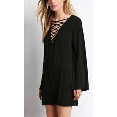 Yoins Crisscross Front Shift Dress-Black  S/M/L/XL/XXL (£17) ❤ liked on Polyvore featuring dresses, black, long sleeve shift dress, black shift dress, long sleeve dresses, kohl dresses y black dress