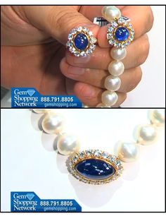 Pearl and sapphire suite - Cabochon cut sapphires set in circles of diamonds this suite includes earrings and a necklace of pearls.  #sapphire #pearls