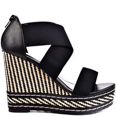 Let go of the everyday norm and pick up this unique sandal from Charles by Charles David. Letti brings you a black elastic upper for a snug fit with an no hassle zipper in the back. A black and white tribal print blanket 4 inch wedge and 1 inch platform. Black Wedge Shoes, Black Sandals, Wedge Sandals, Shoes Sandals, Sandals Platform, Platform Wedge, Multi Coloured Wedges, Frauen In High Heels, Thing 1