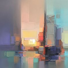 Pixelated Palette Knife Paintings Capture Energetic Cityscapes in Hazy Hues : Abstract Landscape Paintings Capture Energetic Cityscapes Artist Jason Anderson is an expert at making blocky layers of paint actually look like beautiful cityscapes. Abstract Landscape Painting, Landscape Paintings, Abstract Art, Abstract Paintings, Art Paintings, Abstract Portrait, Portrait Paintings, Pencil Portrait, Oil Painting Techniques