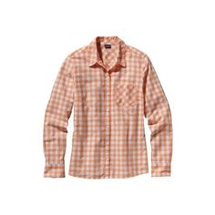 Women's Patagonia Long Sleeve Brookgreen Shirt - Rilay Peach Sherbet... ($79) ❤ liked on Polyvore featuring tops, rilay peach sherbet, peach shirt, women tops, gingham shirt, checkered shirt and henley shirt