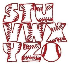 PES ONLY Baseball Font Machine Embroidery by EmbroideredDesign, $2.90