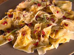 Butternut Squash Tortellini with Brown Butter Sauce from Giada De Laurentiis: Make homemade tortellini with wonton skins or use store-bought and serve with a brown butter, sage and walnut topping. 5 of 5 Stars, 136 Reviews @ Food Network.
