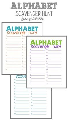 FREE Alphabet Scavenger Hunt Printables. Fun for a road trip, outdoor game, rainy day activity