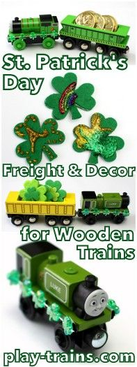Put a hint of spring into your train play with some St. Patrick's Day freight & decor for wooden (or other toy) trains @ Play Trains!