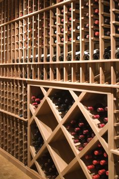 Extensive wine cellar. Standard wood style rack.