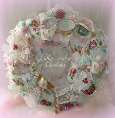 Vintage Tea Cup Wreath, Bone China Teacup Wreath, Lefton Pink Flower Girl, Josef Figurine, Cottage Chic, Victorian, Tea Decor