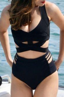 High-Waisted Crisscross Black Hollow One-Piece Swimwear