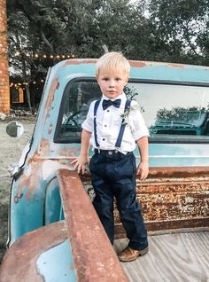 These navy suspenders and bow tie make a great ring bearer outfit for weddings. #ringbearer #outfit #toddler Ring Bearer Suspenders, Ring Bearer Outfit, Wedding Looks, Blue Wedding, Wedding Stuff, Country Wedding Rings, Navy Rings, Navy Bow Tie