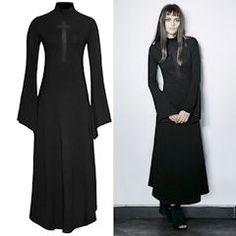 Black Maxi Long Flare Sleeve Turtleneck Gothic Fashion Dresses Women SKU-11402228