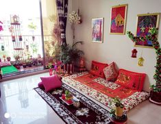 I decorate my living room with lots colours such as beautiful green plants,lovely cushions,statues and some DIYS (My wall… India Home Decor, Ethnic Home Decor, Indian Living Rooms, Colourful Living Room, Decor Home Living Room, Home Decor Furniture, Bohemian Furniture, Furniture Ideas, Loft Furniture