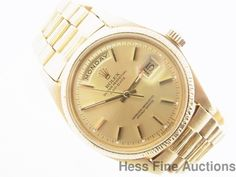 Massive 1807 18k Gold Vintage 1970s Genuine Bark Finish Rolex Day Date President