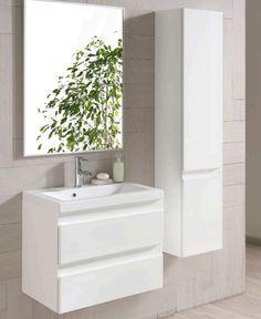 Puhtaan valkoista kylpyhuonetyyliä. Otsoson Allaskaappi Element 800, 800x470x386mm, valkoi | Netrauta.fi #kylpyhuone