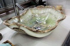 Modern Natural Stone Bathroom Vessel Sink - Beautiful Green Onyx Sink   eBay