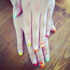 nail, nails, colorful, pink ,blue,yellow,orange,summer
