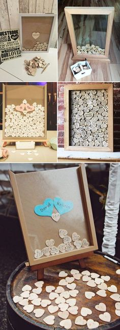DIY heart shaped wedding guest books ideas