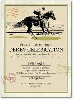 Derby Celebration - Party Invitations - Southern Living Magazine - Khaki Neutral #party #derby