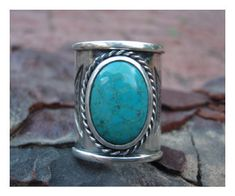 Tribal Turquoise Ring - Sterling Silver (925) - Custom Size. $165.00, via Etsy.