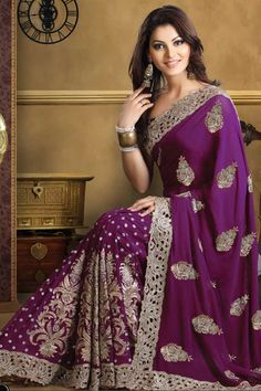 Designer Embroidered Wedding Saree; Magenta Faux Georgette Wedding and Festival Embroidered Saree Like the color