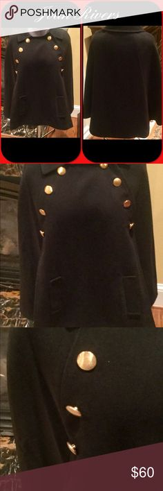 Joan River black cape with gold button detail Cap by Joan Rivers size small.  In excellent like new condition.  Wool blend. Joan Rivers Jackets & Coats Capes