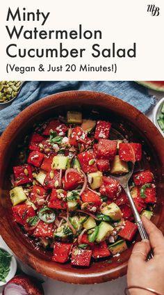 Feta Cheese Recipes, Cheese Salad, Feta Salad, Cucumber Salad, Watermelon Mint Salad, Watermelon Salad Recipes, Real Food Recipes, Vegetarian Recipes, Healthy Recipes