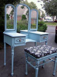 Vintage Painted Vanity with BenchReserved for Amanda by suezcues, $385.00    #uncommongoods  #contest