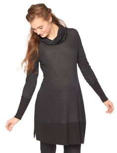 A bump-comfy tunic for active and lounging | 3/4 sleeve cowl neck uneven hem maternity shirt by Motherhood Maternity
