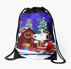Santa Clause in the DOG world  Drawstring Bags #Drawstring #Bags #DrawstringBags #santa #santaclaus #christmas #blackfriday #mickeymouse #donaldduck #videogames #cat #mouse #mickeymouseclub #dog #snoopydog