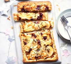 Brie, apple & onion tart Apples and cheese make perfect partners in this puff pastry tart, ideal for using up the remnants of a cheeseboard or leftover cranberry sauce - serve hot or cold for a Boxing Day buffet Bbc Good Food Recipes, Vegetarian Recipes, Cooking Recipes, Yummy Food, Christmas Buffet, Christmas Recipes, Onion Tart, Savory Tart, Savoury Tart Recipes