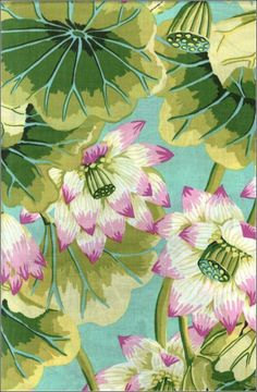 lotus fabric designed by Kaffe Fassett Indigo Prints, Textile Prints, Textiles, Pattern Paper, Fabric Patterns, Print Patterns, Illustrations, Illustration Art, Motif Floral