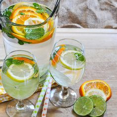 Citrus and Mint Infused Water. Water infused with citrus and mint. Infused Water Detox, Infused Water Recipes, Infused Waters, Flavored Waters, Refreshing Drinks, Fun Drinks, Yummy Drinks, Beverages, Pinterest Instagram