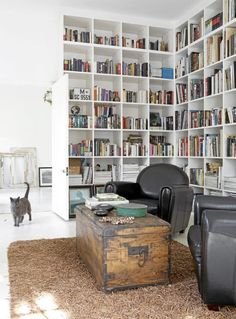 how can you resist the wall to wall shelves, the old trunk turned coffee table and the cosy chairs begging for you to curl up and read a book?