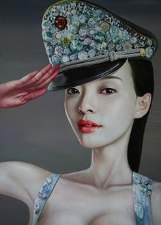 """""""Army Princess No.4"""" - Ling Jian, oil on canvas, 2009 {contemporary figurative artist beautiful female head asian woman face décolletage portrait painting} lingjian.org"""