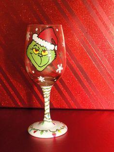 Handpainted Wine Glass The Grinch by KristenLeighStudios on Etsy