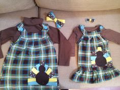 Thanksgiving dresses with hair bows.