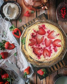 low fat yogurt cake with red currant and strawberry low carbs low calories  food photo
