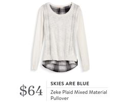 Stitch Fix September 2016 - Skies Are Blue, Zeke Plaid Mixed Material Pullover…