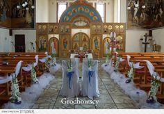 dekoracja kościoła na ślub Człuchów ślubna dekoracja cerkwi w Człuchowie dekoracje ławek