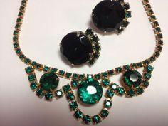 Juliana aka D&E Chunky Emerald Green Demi Rhinestone Necklace & Earring Demi