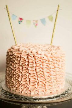 Vintage Pink Ruffle Cake! Fresh Strawberry Swiss Buttercream made by Carmen's Sweet Creations, Maple Ridge, BC